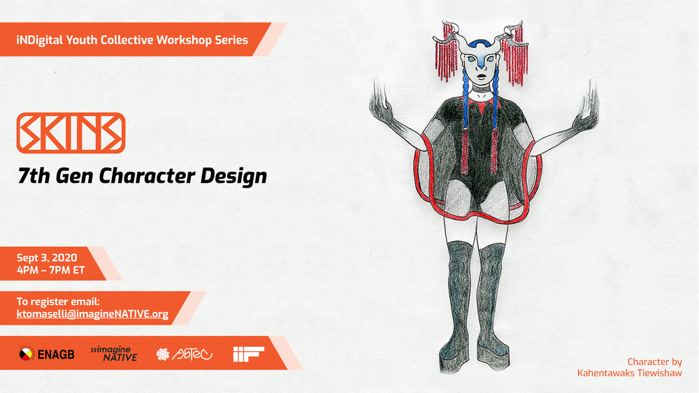 Character design promotional image with event details.